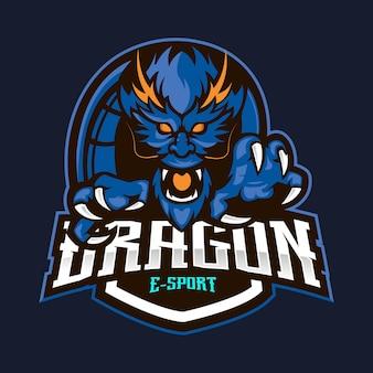 Vecteur de conception de logo de mascotte de dragon