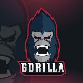 Vecteur de conception de logo de mascotte gorilla esport