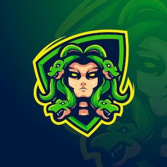 Vecteur de conception de logo mascotte medusa