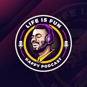 Vecteur de conception de logo de mascotte de podcast