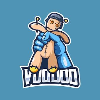 Vecteur de conception de logo mascotte poupée vaudou