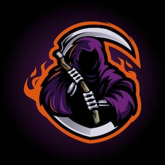 Vecteur de conception de logo mascotte reaper. illustration de la grande faucheuse pour l'e-sport