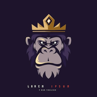 Vecteur de conception de logo de mascotte de roi kong