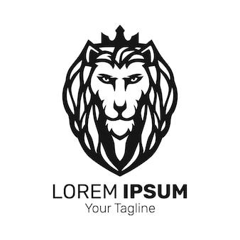 Vecteur de conception de logo de mascotte de roi lion