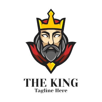 Le vecteur de conception de logo de mascotte de roi