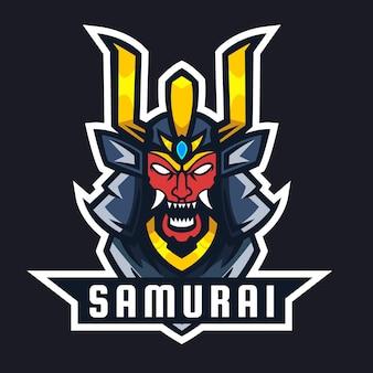 Vecteur de conception de logo de mascotte samouraï
