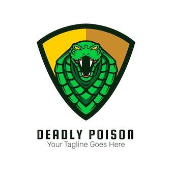 Vecteur de conception de logo mascotte serpent vert
