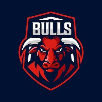 Vecteur de conception de logo de mascotte de taureau