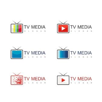 Vecteur de conception de logo de médias et de télévision