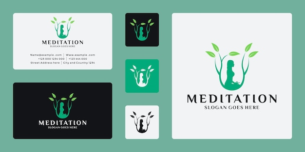 Vecteur de conception de logo de méditation yoga nature
