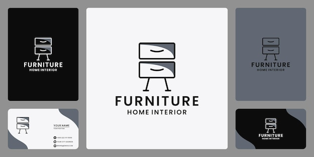 Vecteur de conception de logo de meubles d'intérieur de propriété