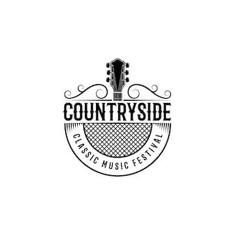 Vecteur de conception de logo de musique country western rétro vintage