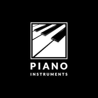 Vecteur de conception de logo de musique de piano