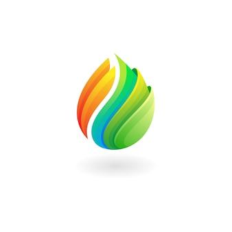 Vecteur de conception de logo nature feuille, icônes colorées 3d