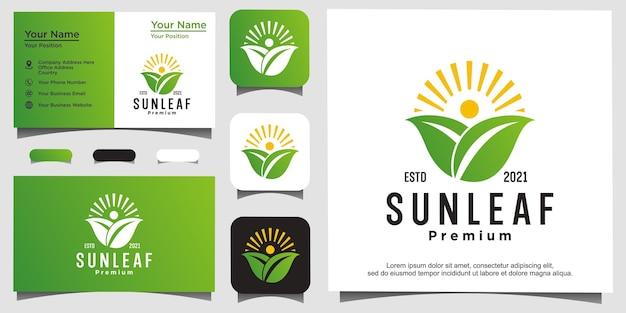 Vecteur de conception de logo nature feuille soleil