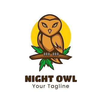 Vecteur de conception de logo de noctambule