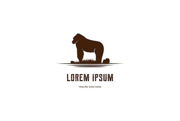 Vecteur de conception de logo noir gros gorille animal fort