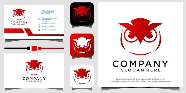 Vecteur de conception de logo oiseau chouette