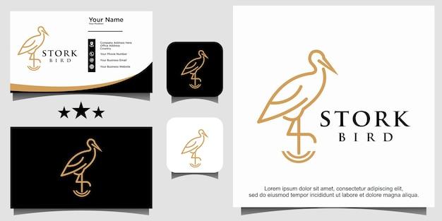 Vecteur de conception de logo oiseau cigogne