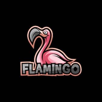Vecteur de conception de logo oiseau flamant rose
