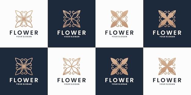 Vecteur de conception de logo d'ornement de fleur de luxe de collections avec la couleur d'or