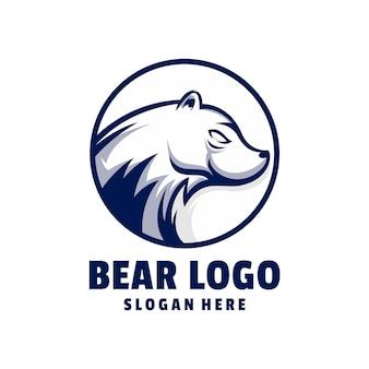 Vecteur de conception de logo ours mascotte