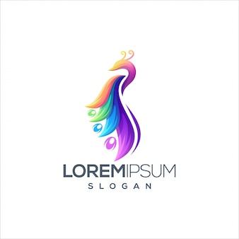 Vecteur de conception de logo paon génial