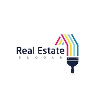 Vecteur de conception de logo de peinture de maison