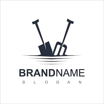 Vecteur de conception de logo de pelle pour le symbole de la ferme et de l'exploitation minière