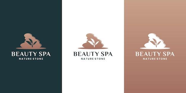 Vecteur de conception de logo de pierres de spa avec lotus de feuille