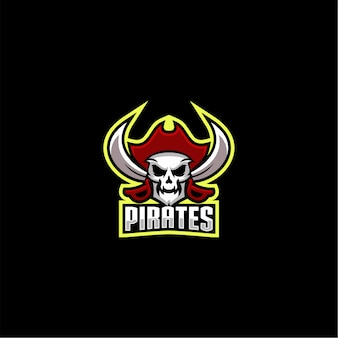 Vecteur de conception de logo de pirates