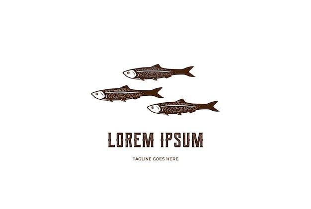 Vecteur de conception de logo de poisson anchois frais vintage rustique