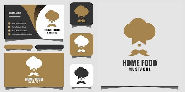 Vecteur de conception de logo de restaurant de nourriture à la maison de moustache avec la carte de visite de fond de modèle