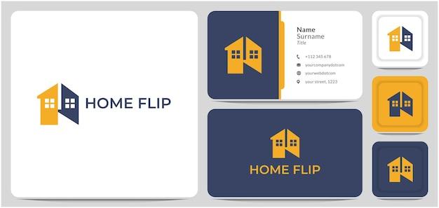 Vecteur de conception de logo de retournement de maison