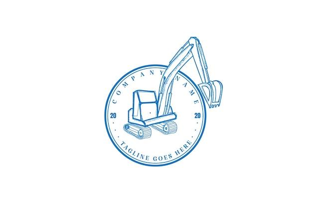 Vecteur de conception de logo rétro pelle rétrocaveuse minière rétro