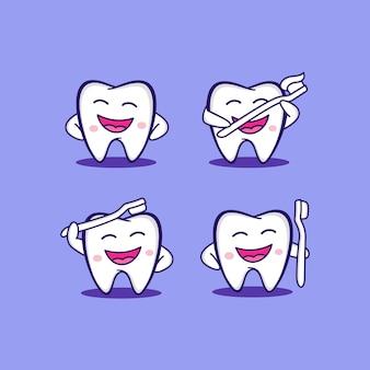 Vecteur de conception de logo de santé de brosse à dents de sourire dentaire moderne de personnage de dessin animé illustration créative