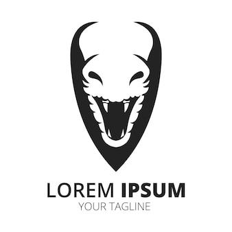 Vecteur de conception de logo de serpent noir et blanc