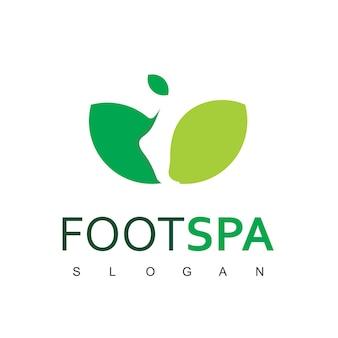Vecteur de conception de logo de spa de pied naturel