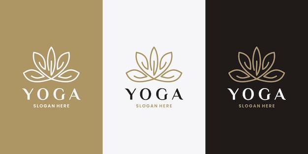 Vecteur de conception de logo de symbole de yoga de fleur de lotus. doré féminin