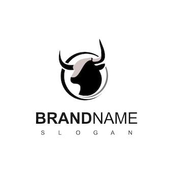 Vecteur de conception de logo de taureau