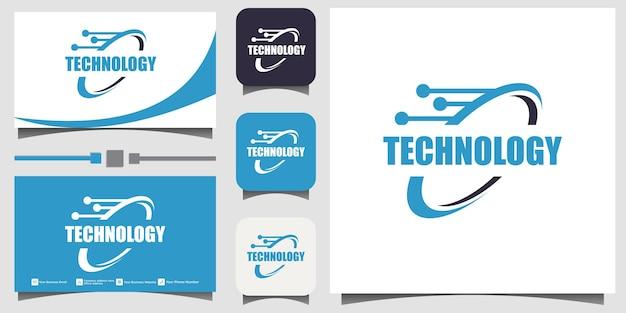 Vecteur de conception de logo de technologie de cercle avec arrière-plan du modèle de carte de visite