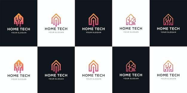 Vecteur de conception de logo de technologie maison intelligente