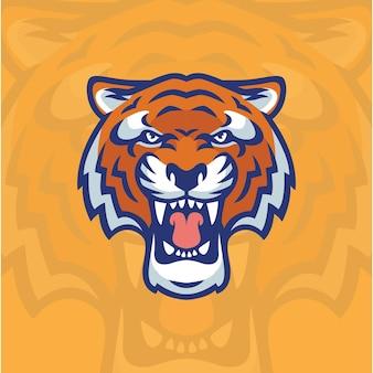 Vecteur de conception de logo de tête de tigre