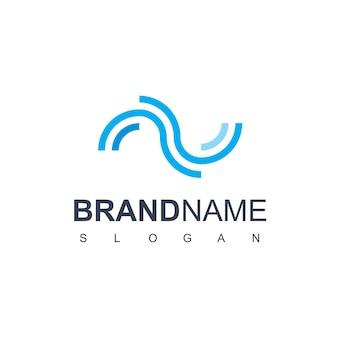 Vecteur de conception de logo de vague de ligne