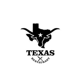 Vecteur de conception de logo vintage premium restaurant texas