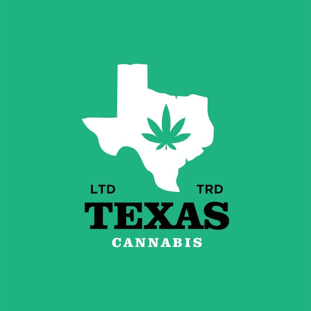 Vecteur de conception de logo vintage texas cannabis premium