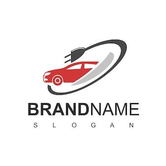 Vecteur de conception de logo de voiture électrique