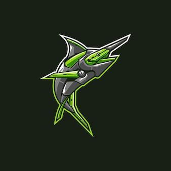 Vecteur de conception de mascotte de marline verte