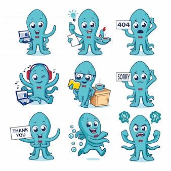 Vecteur de conception de mascotte de poulpe mignon
