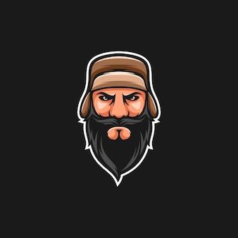 Vecteur de conception de mascotte russe beardy